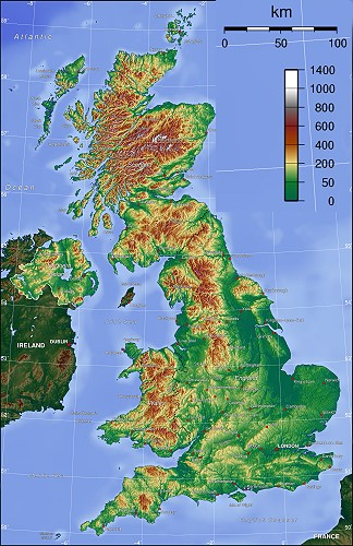 Topography UK map
