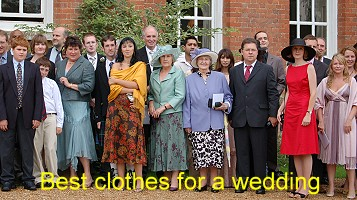 Clothes worn by guests at a wedding